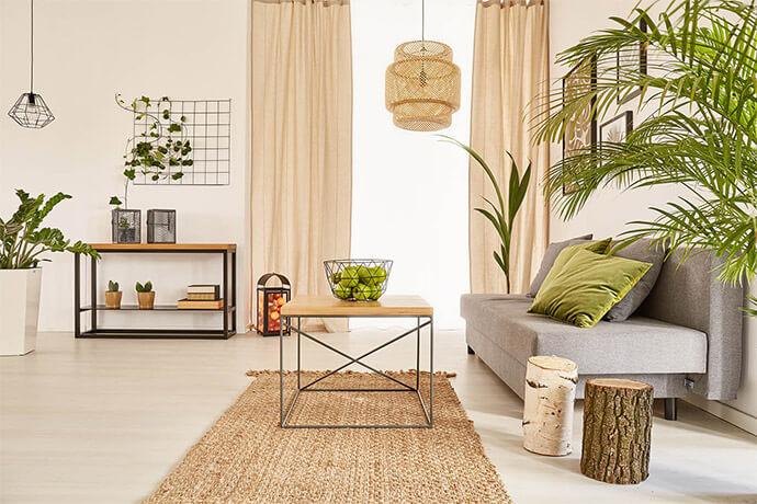Cozy Green ist ein Wohnzimmer-Look mit viel grün und braun als bestimmende Farben