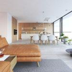 Minimalistisch eingerichtetes Wohnzimmer mit braunem Sofa, Kamin und Esszimmer im Hintergrund