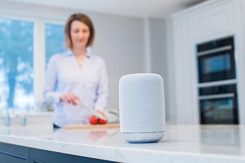 Frau in der Küche im Hintergrund - im Vordergrund ein Smart Speaker