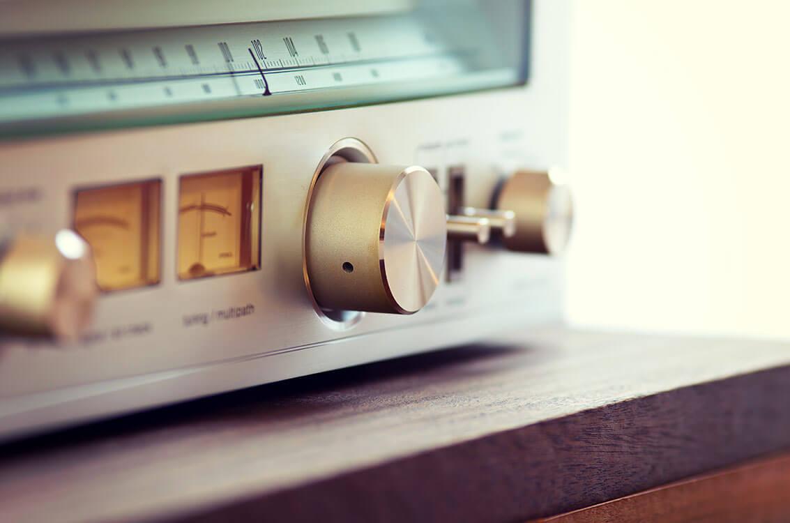 Vintage Stereoanlage in Nahaufnahme