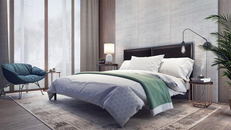 Wasserbett in modernem Schlafzimmer