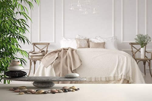 Feng Shui Einrichtung im Schlafzimmer mit Steinen