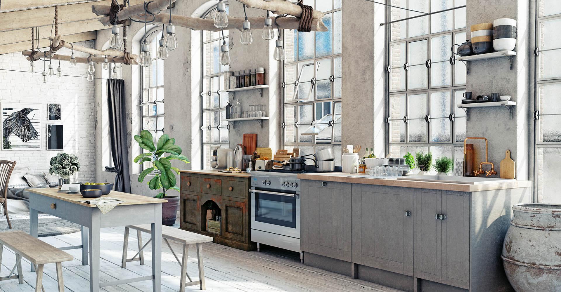Shabby Chic Küche und Esszimmer
