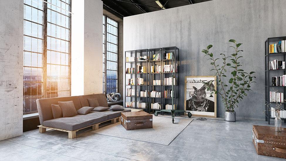 Wohnzimmer eingerichtet im Bauhaus-Stil