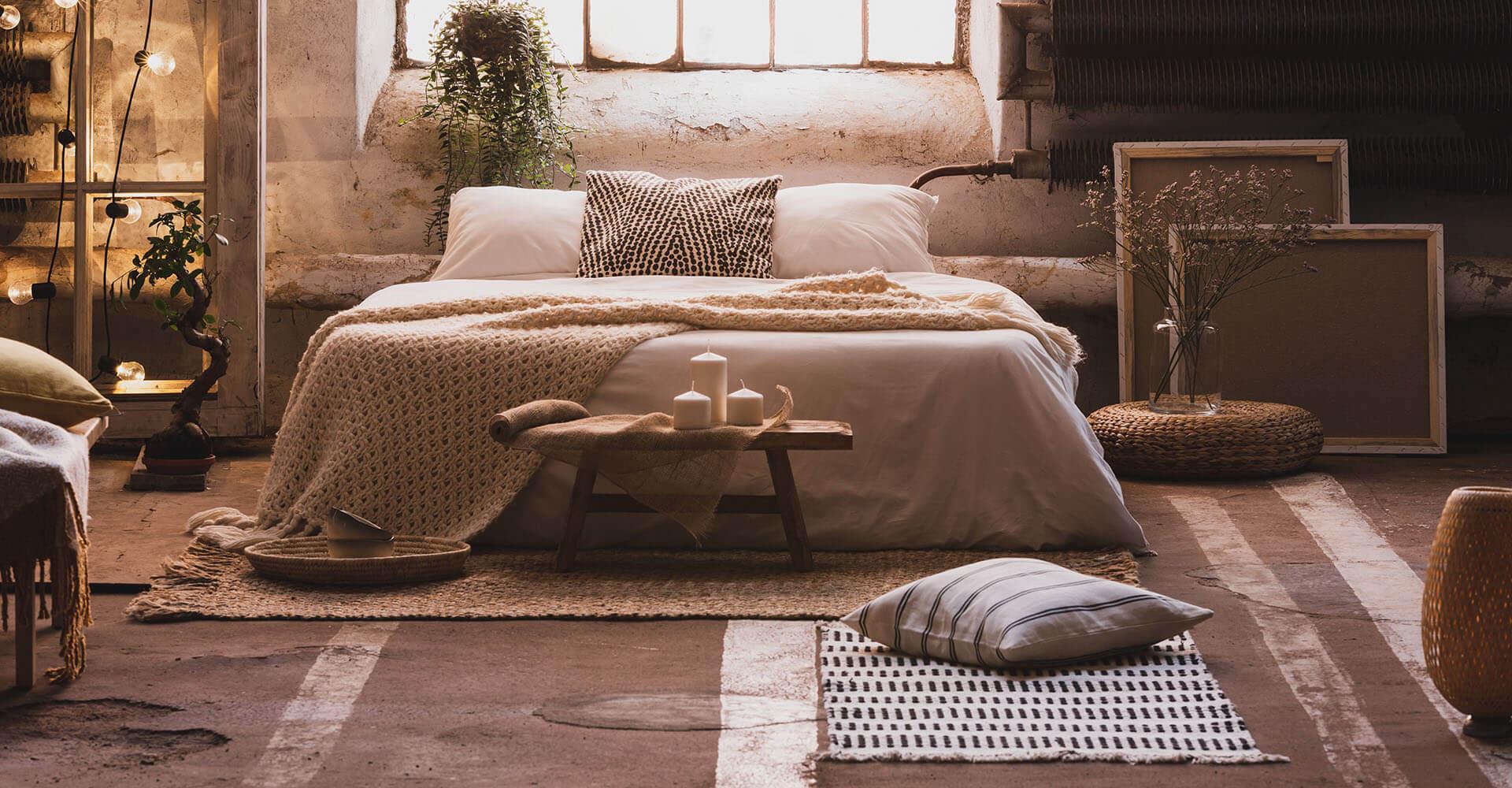 Meditationsbank in Schlafzimmer