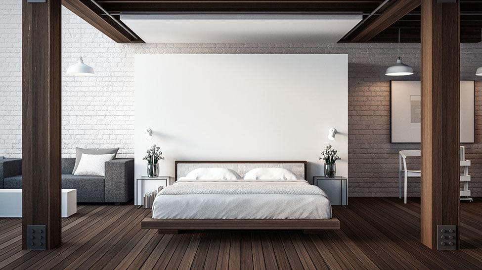 Futonbett in dunklem Schlafzimmer