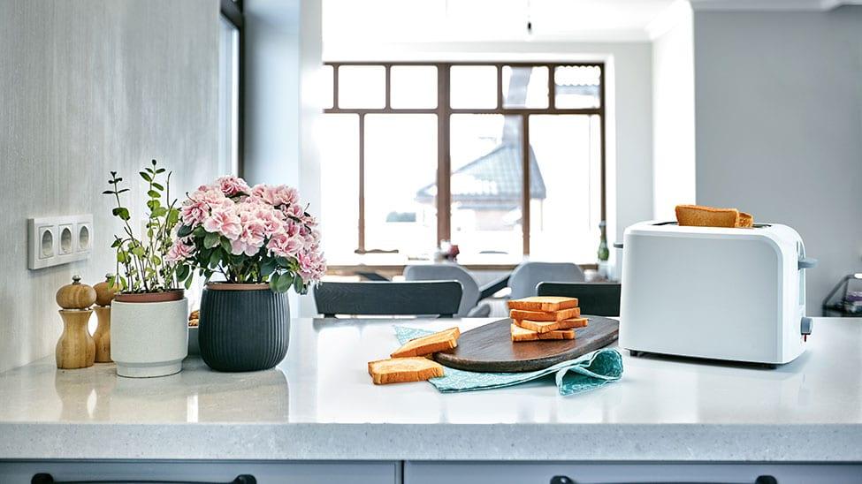 Toaster auf Küchenplatte neben fertigen Toasts