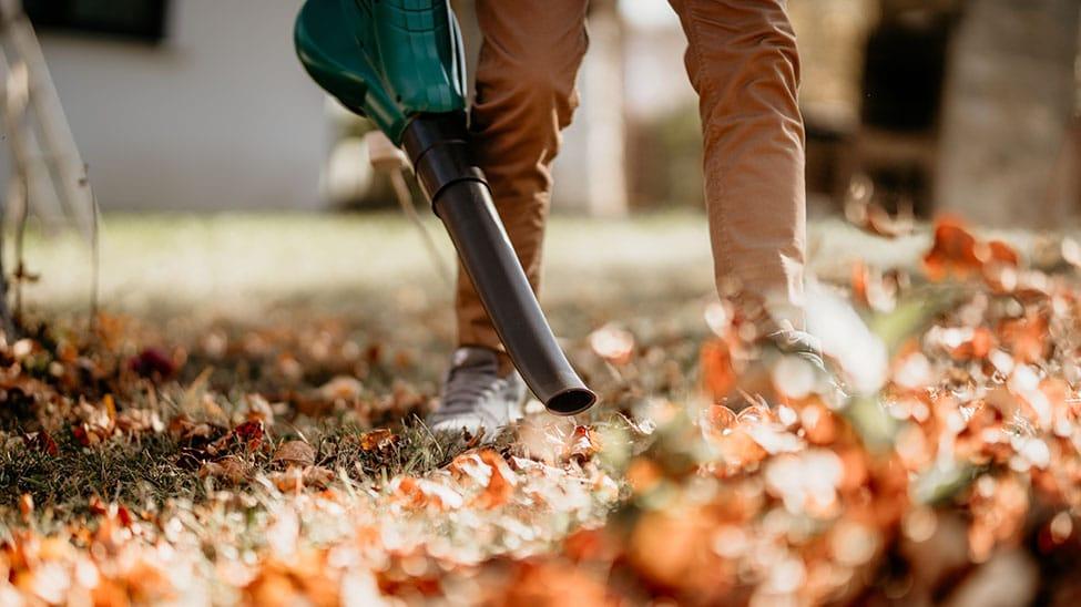Mann wedelt mit Laubsauger Laub in Garten auf