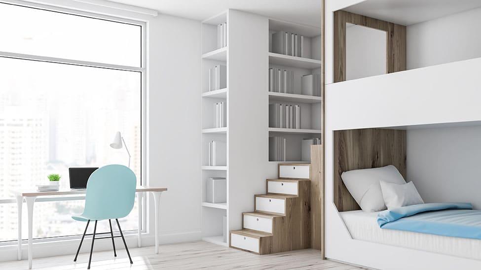 Hochbett für Erwachsene in weißer Einrichtung