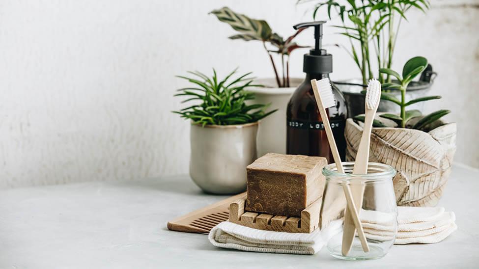 Alternativen zu Plastik wie Holzzahnbürsten oder Holzkamm