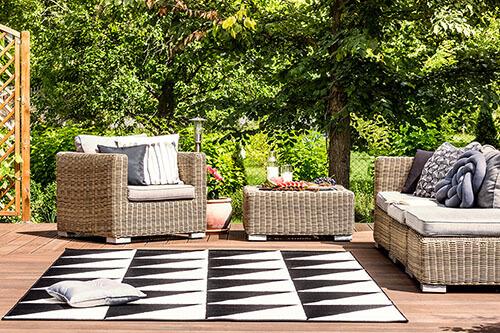 Outdoor Teppich auf Terrasse